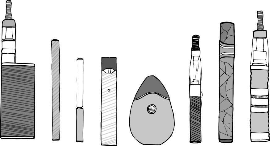 Black and white illustration of different types of e-cigarettes