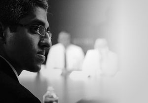 Black and white photo of Dr. Vivek H. Murthy, Surgeon General