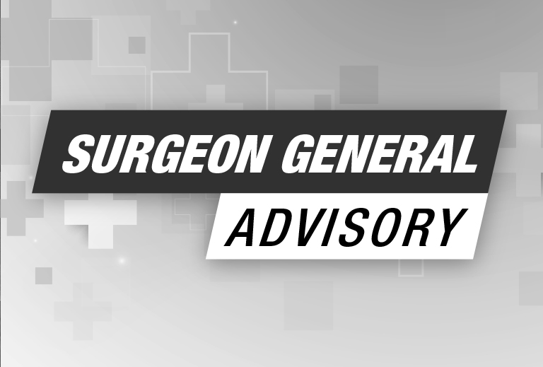 Black and white photo of a text that says Surgeon General Advisory